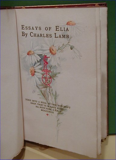 essays of elia the works of charles lamb part one